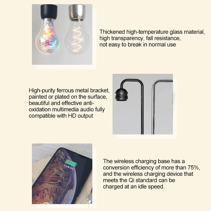 Magnetic Levitation Lamp Desk Floating Bulb for Christmas Gift Decor magnet levitation Night Light Wireless Charger for Phone - 6
