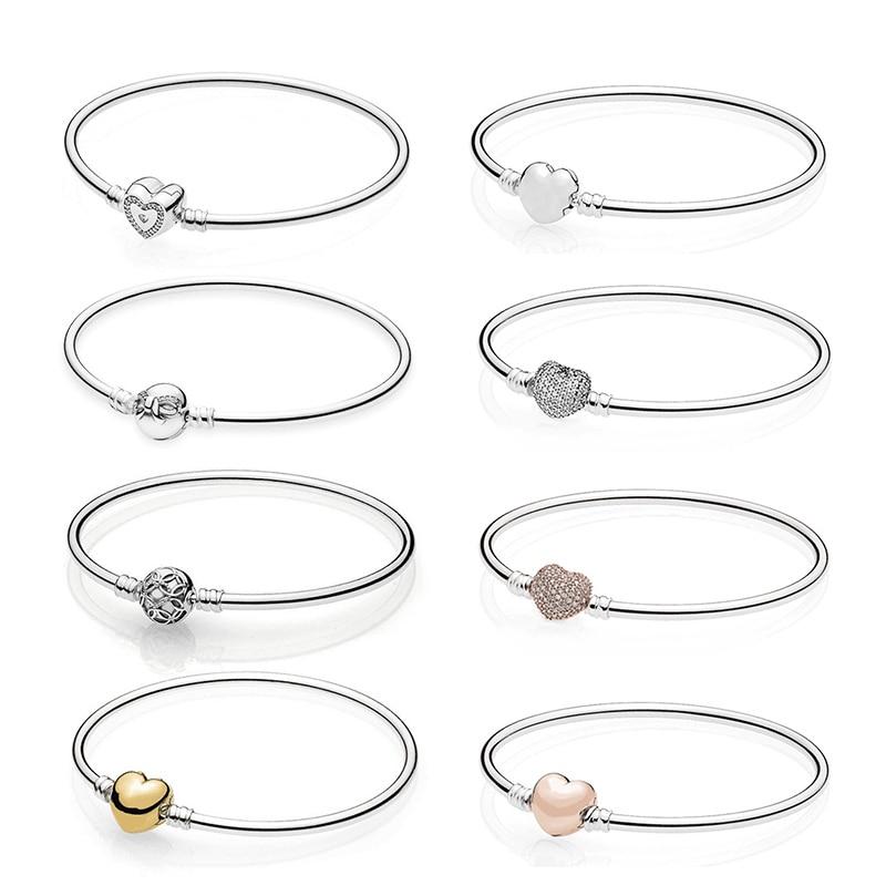 Original 100% 925 Sterling Silver Pandoras Bracelet With Love Heart Bracelet Logo Limited Edition Original 1:1 Basic Bracelet