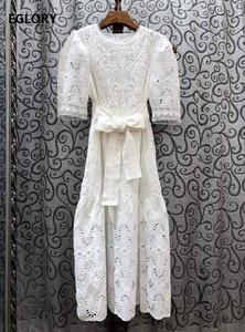 Высококачественное хлопковое платье 2020 летнее Стильное женское изысканное винтажное платье до середины икры с вышивкой и поясом с коротки...