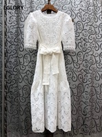 Top Quality Cotton Dress 2020 Summer Style Women Exquisite Embroidery Belt Deco Short Sleeve Mid Calf Length White Dress Vintage