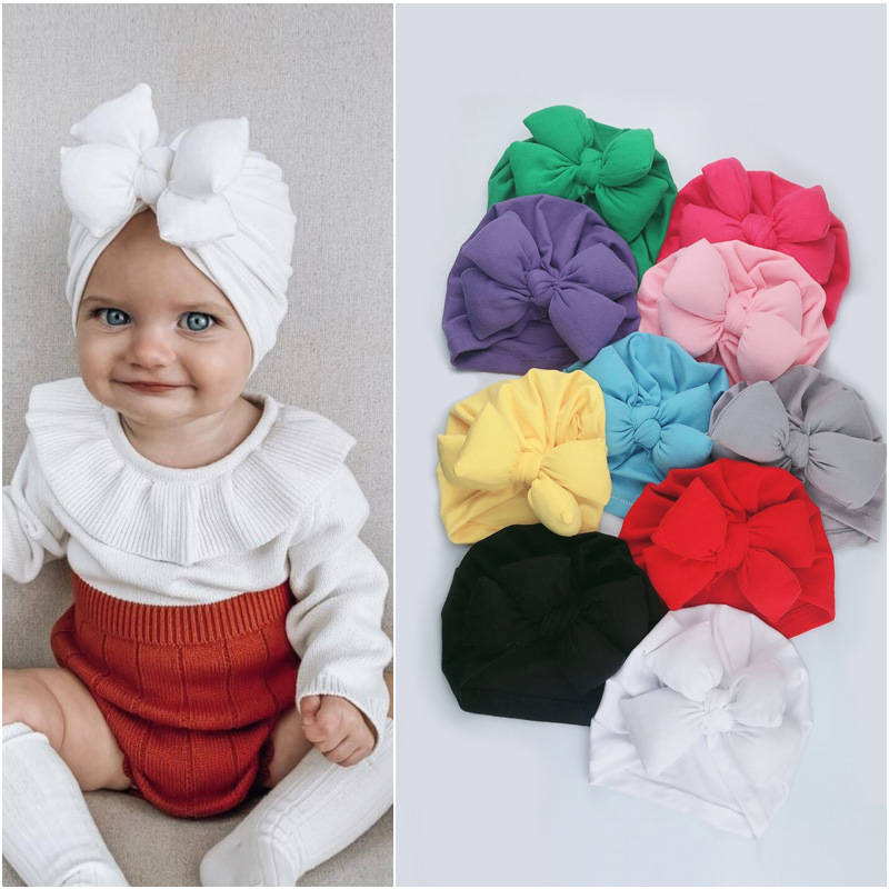 Bulk 20pc/lot Baby Hat For Girls Bows Turban Hat Infant Photography Props Cotton Kids Beanie Baby Cap Accessories Children Hats