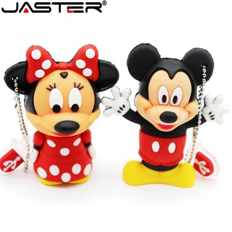JASTER Creative Mouse Mickey And Minnie USB Flash Drive Animal Cartoon Flash Drive 4GB 8GB 16GB 32GB 64gb Memory Stick U Disk