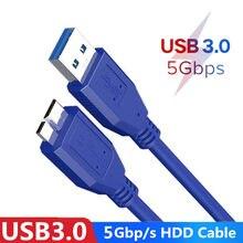 Micro b usb 3.0 cabo 5gbps disco rígido externo hdd cabo para samsung s5 note3 toshiba wd seagate hdd cabos de fio de dados