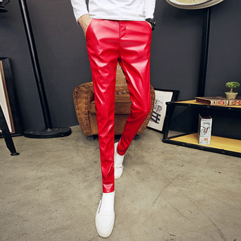New men's personality leather pants Europe and the United States men's fashion tights trend PU feet pants singer costumes