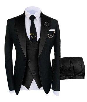 New Costume Slim Fit Men Suits Slim Fit Business Suits Groom Black Tuxedos for Formal Wedding Suits Jacket Pant Vest 3 Pieces 24