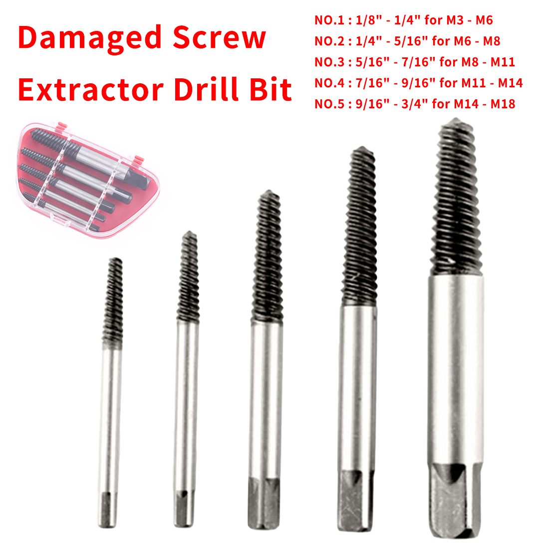 Broken Bolt Stud Remover Tools 5pcs High Carbon Steel Damaged Screw Extractor Easy Out Set Drill Bits With/Without Case