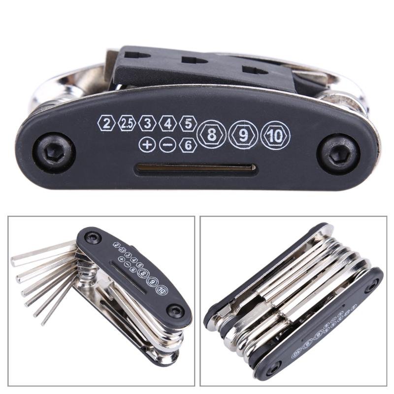 Multi 15 In 1 Usage Bike Bicycle Repair Bike Tools Kit Hex Wrench Nut Tire Repair Hex Allen Key Screwdriver Socket Extension Rod