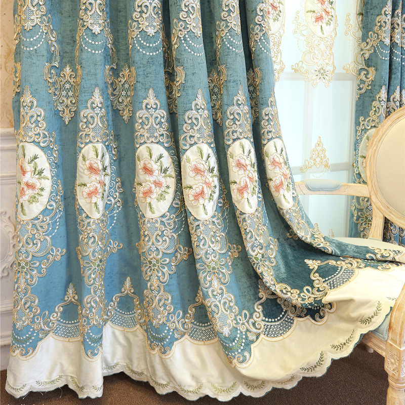 European Luxury Blue Chenille Embroideried Curtains for Living Room Bedroom High-End Villa Curtain Sheer Flower Tulle Valance