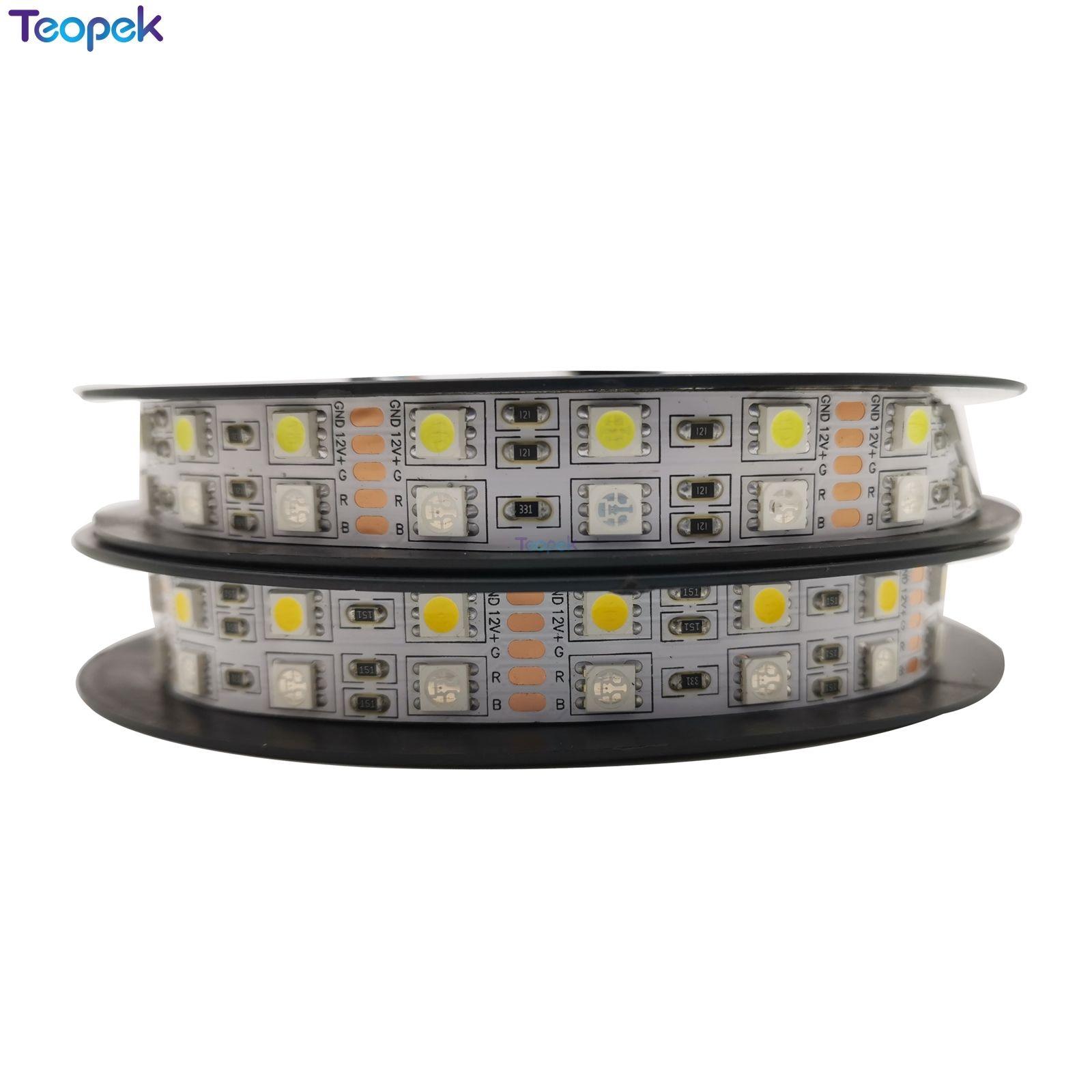 Doble fila 5050 RGBW RGBWW RGB + blanco frío blanco cálido tiras LED flexibles DC12V 24V 5 M/rollo 120led/M 600LEDs