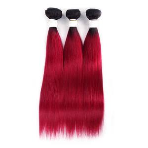 Image 2 - Ombre Red Brazilian Straight Human Hair Weave Bundles 1B 30 Brown 8 26 Inch Hair Bundles Non Remy Hair Extension 1/3/4 PCS KEMY