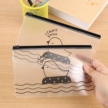 1PC Kawaii Pencil Case Chick Transparent Gift School Pencil Box Pencilcase Pencil Bag School Supplies Stationery(China)