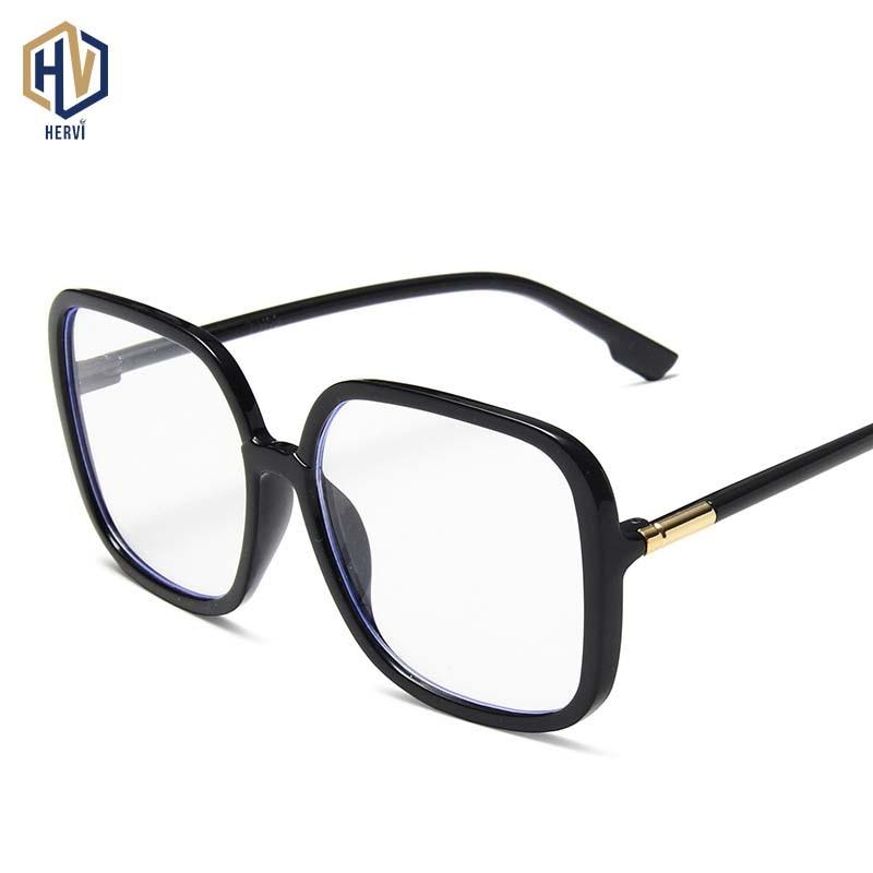 Anti Blue Light Oversized Square Glasses Frame Brand Designer Black Big Eyeglass Frames High Quality Clear Lens Glasses