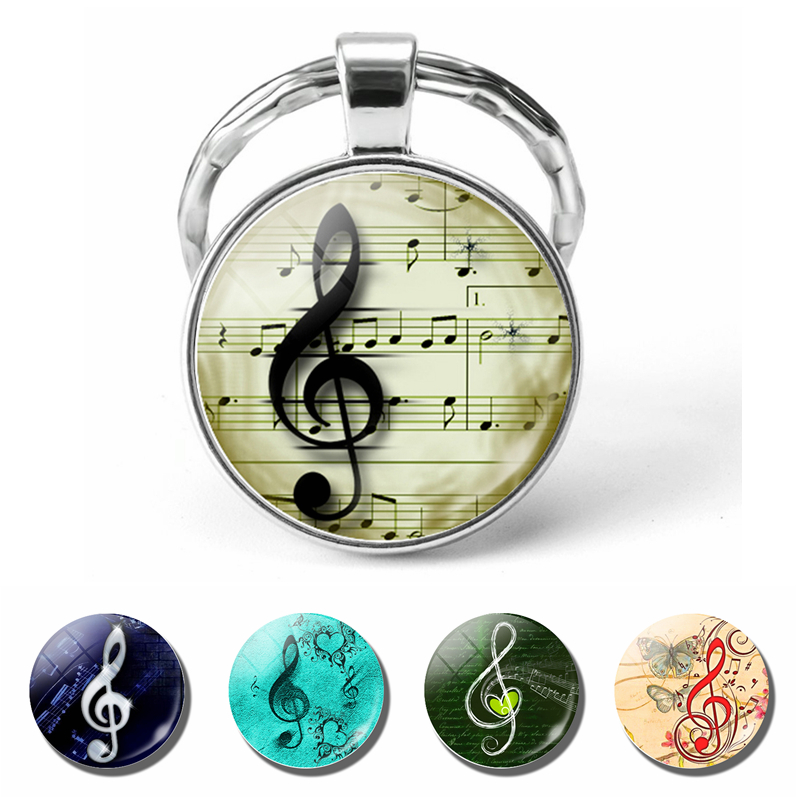 Music Notes Pendant Silver Keychain Glass Cabochon Jewelry Butterfly Music Notes Musician Key Chain Ring Students Fashion Gift