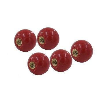 10 pçs botão de bola m8x30mm inserção de cobre máquina botão ferramenta substituição 8mm rosca 30mm bola diâmetro baquelite vermelho bola alavanca botão
