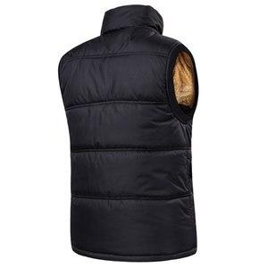 Image 4 - Autumn Winter Fleece Mens Vest Casual Mens Sleeveless Solid Color Black Warm  Plus Size 7XL Thick Mens Vest Jacket Casaco Gilet