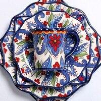 European ceramic dinnerware set household hand painted large Western steak lotus plate square plate export tableware|Dinnerware Sets| |  -