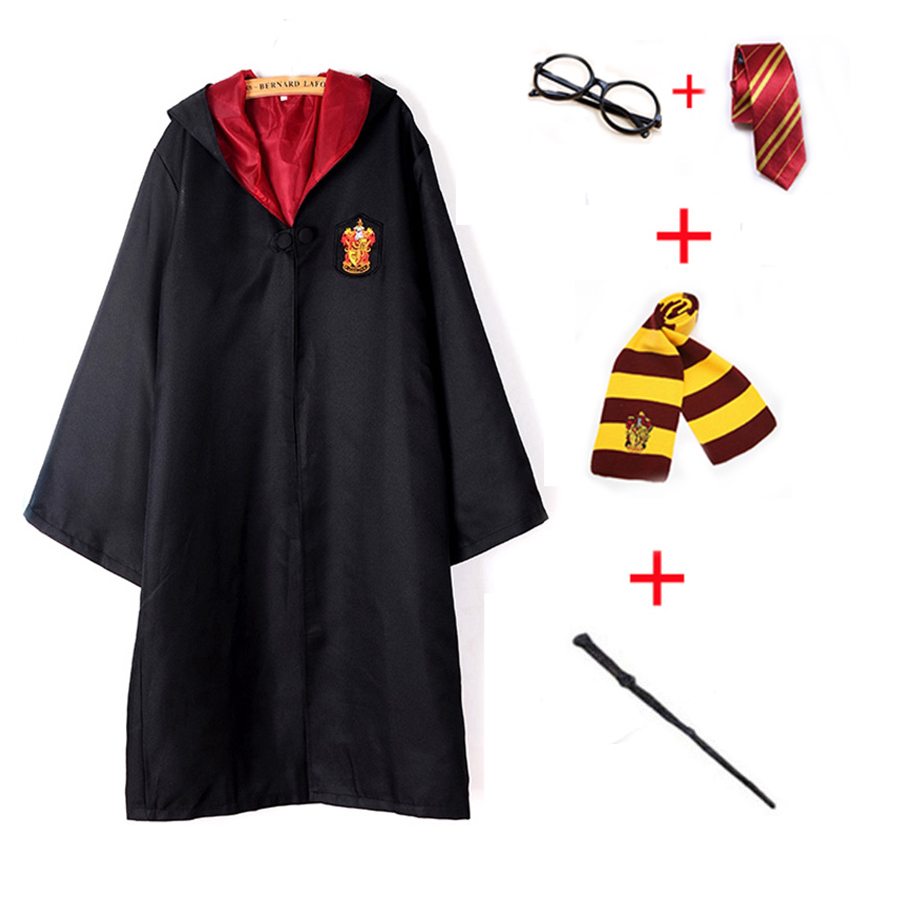 5PCS Set Magic Costume Robe Gryffindor Slytherin Ravenclaw Hufflepuff Cosplay Potter Costumes Kids Adult Cape Cloak E2103AD