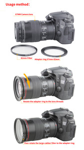 Image 4 - מכירה לוהטת 49mm 52mm 49 55mm 49 58mm 49 62mm 49 67mm 49 72mm 49 77mm 49 82mm עדשת את טבעת מסנן כל מצלמה מתאם סט