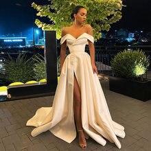 Атласное платье uzn с открытыми плечами а силуэт v образным
