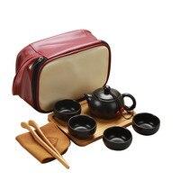 Taşınabilir seramik çay fincanı seti Vintage Kungfu çay kupa Pot tepsisi saklama çantası seyahat için P7Ding