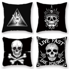 Halloween skull black and white series pillowcases