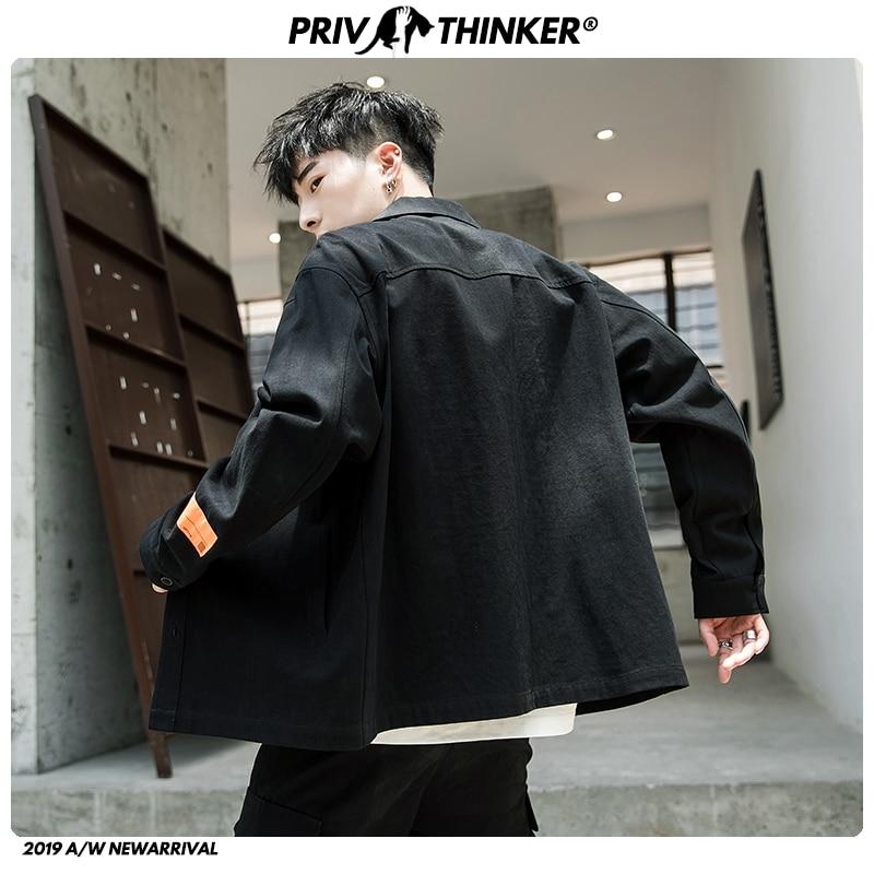 Privathinker 2019 Men Autumn Safari Style Jackets Mens Korean Pockets Loose Streetwear Jacket Male Fashion Clothes Oversize
