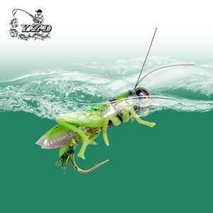 YAZHIDA Fly Fishing Baits Grasshopper Flies 12Pcs 270mm Floating Water Pike Trout Carp Bass Lure YZD-F12 Artificial Insect Lures