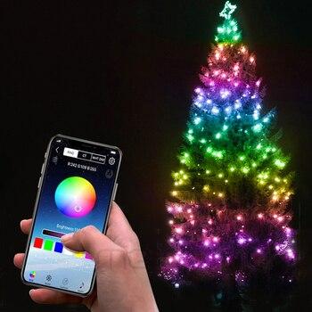 Guirnalda de luces RGB con Bluetooth para decoración de árbol de Navidad,...