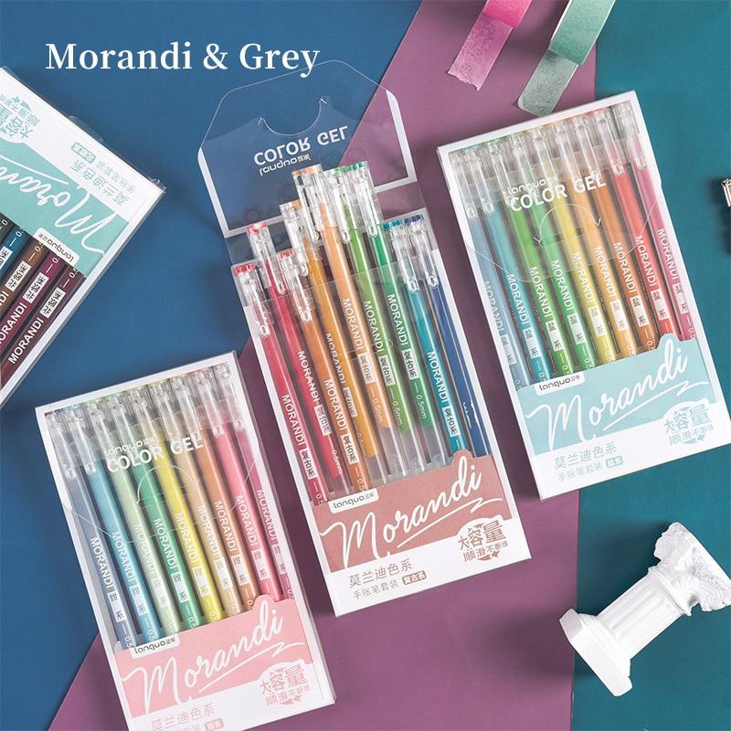 9pcs Morandi Gray Pens Set Multi Color Gel Ink Pens Vintage Marker Liner 0.5mm Ballpoint Stationery Gift Office School A6037