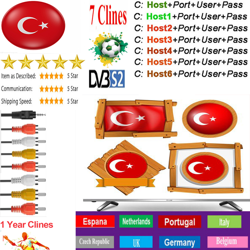 OSCAM Europa Turkey Server 1YearTurkey Satellite Tv Receiver 1-7Clines For DVB-S2 IPS2 X800 X800S V7  V7s V8 Nova V9