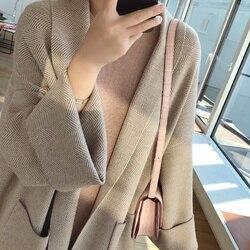 2019 mujeres Poncho de manga larga de estilo suelto de punto largo suéter abrigo mujeres de gran tamaño cárdigan suéter largo Jumper Casaco femenino