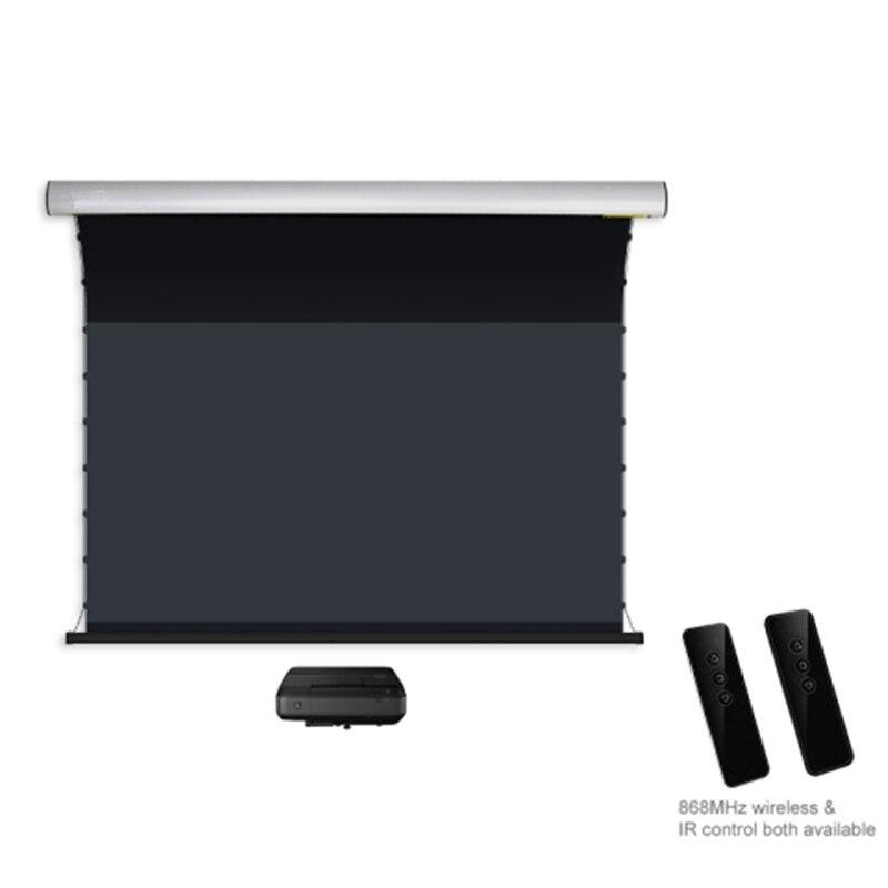 2,35: 1 lengüeta eléctrica montada en la pared-luz ambiental de tensión rechazando la pantalla del proyector para UST ALR/Ultra tiro corto proyector láser