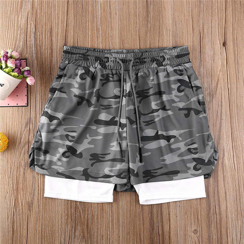 Hot Mens Gym Training Shorts Lined Workout Sports Casual Shorts Men Summer Fitness Running Short Quick Dry M-2XL