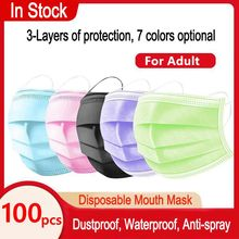 50Pcs/100pcs Colorful Mask Disposable Nonwove 3 Layer Ply Filter Mask mouth Face mask filter safe Breathable Protective masks