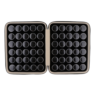 Image 1 - Круглый отдельный пластиковый мини органайзер с 60 сетками, ящик для хранения с черным чехлом из искусственной кожи, чехол для ювелирных изделий