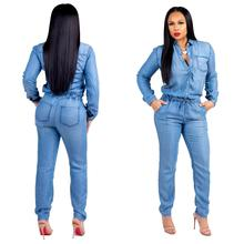 2019 Denim Jumpsuit Women Long Sleeve Front Button Jeans Rompers Women Jumpsuit Plus size 3xl Bandage Streewear Overalls цены
