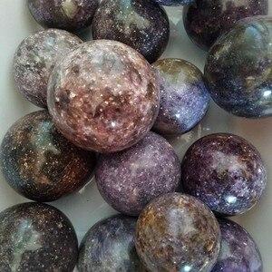 Image 5 - Natural lepidolite pedra bola de cristal casa decoração esfera cura cristais