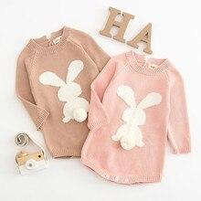 Newborn Baby Cartoon Knitting Rabbit Pom Sweater Tops Romper