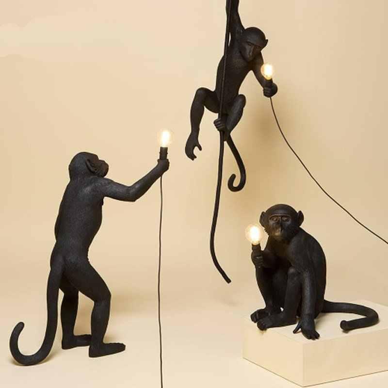 SELETTI Современная черная обезьянка пеньковая веревка животное лампа в форме обезьяны гостиная ресторан для одежды в спальне магазин люстра лампа настенная лампа