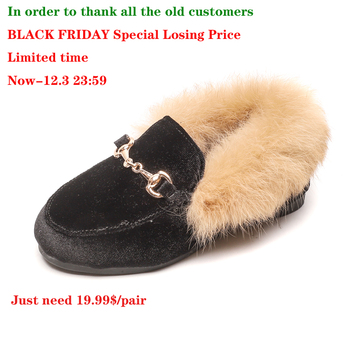 CMSOLO Boys Girls Velvet Loafer Best Sell New 2018 Winter Warm Kids Fur Shoes Size 21-35 Flat (Choose According To Foot Length)
