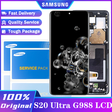 100% מקורי 6.9 תצוגה עם מסגרת לסמסונג גלקסי S20 Ultra LCD G988 G988F G988B/DS מגע מסך digitizer עצרת