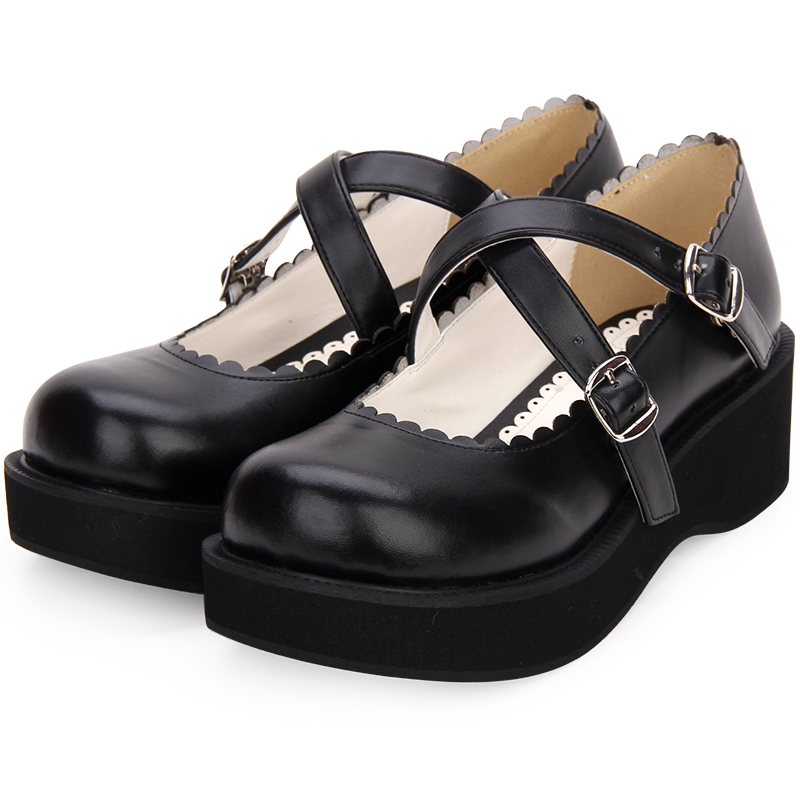 Japanese Lolita Girl School Uniform Mary Jane Wedge Shoes Black PU Leather Platform Shoes