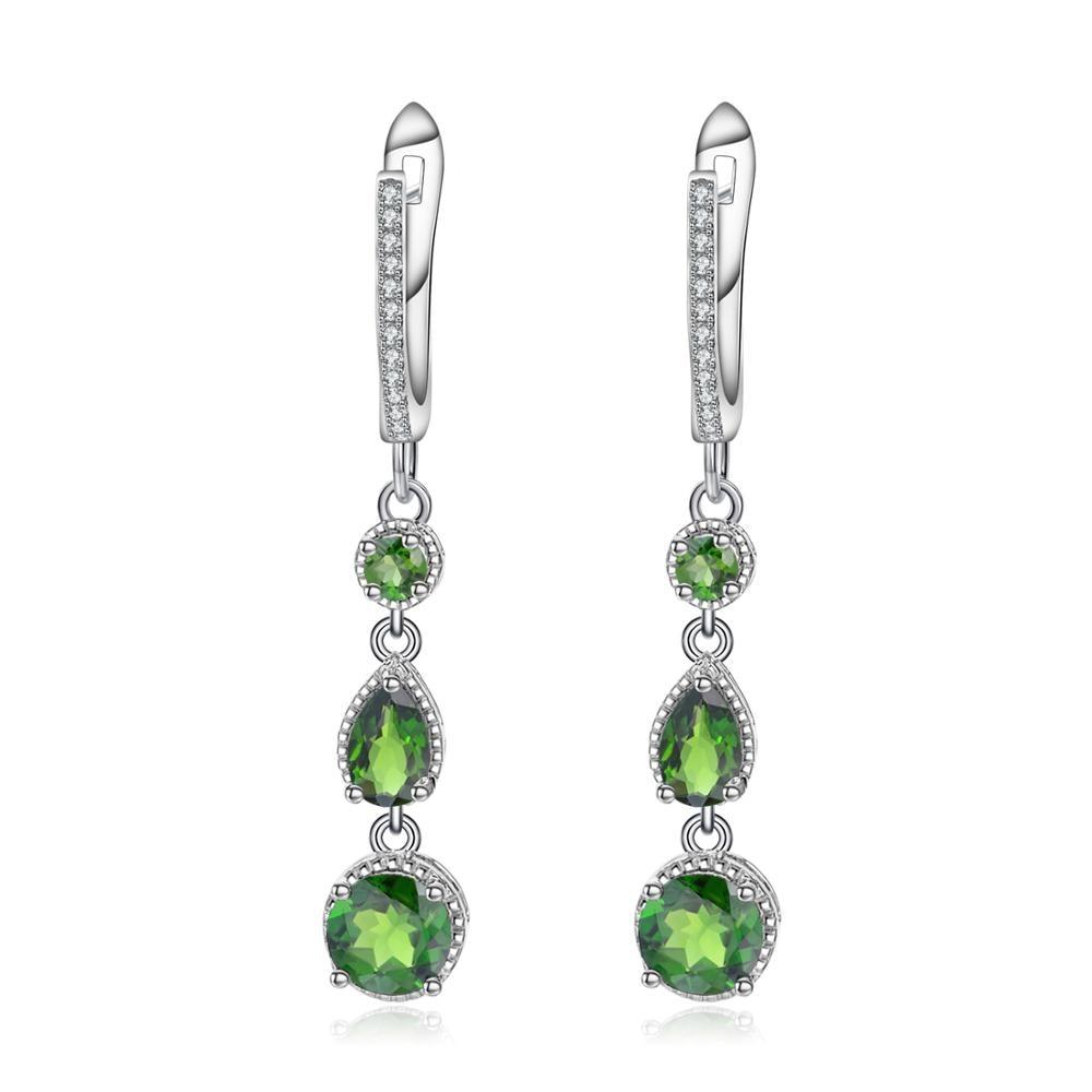 GEM'S BALLET Genuine 925 Sterling Silver Earrings 3.46Ct Natural Chrome Diopside Gemstone Drop Earrings Fine Jewelry For Women-in Earrings from Jewelry & Accessories    1