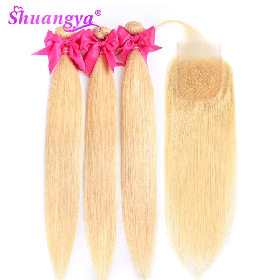Волосы шуангья малазийские прямые волосы пучки 613 пучки с закрытием remy волосы светлые пучки с закрытием человеческие волосы пучки