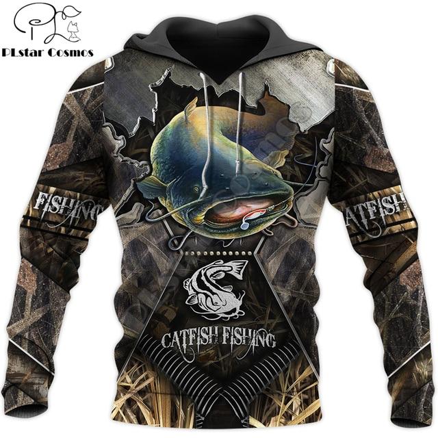 Blue Catfish Camo Fishing Hoodie Unisex