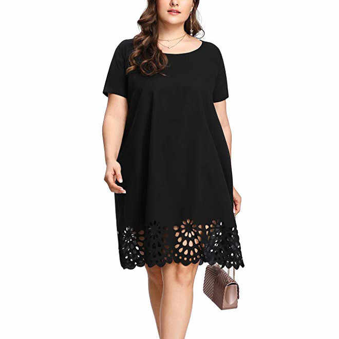 Xl-5xl Plus Size Fashion Vrouwen Elegante Jurken Losse Solid Korte Mouw O-hals Hollow Out Casual Dress Vestido Mujer