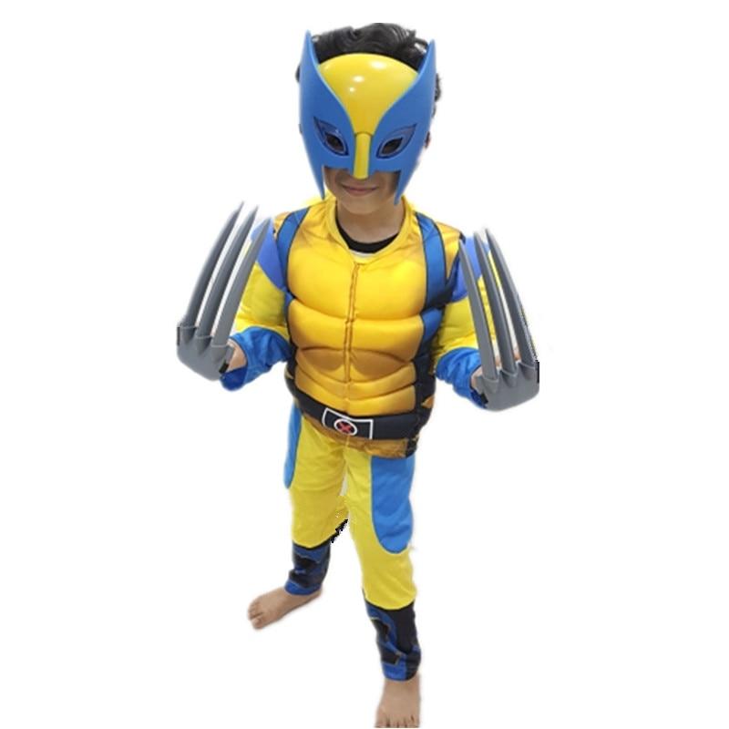 Child Iron Wolf Costume Kids Superhero Cosplay Party Fancy Boy Girl Birthday Present Muscle Jumpsuit Send Mask