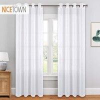 Nicetown 1 par 2019 nova chegada do verão moderno voile branco tule painéis cortinas com grommet superior sheers para casa vivendo