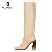 Microfibra super botas de salto alto branco 2020 feminino novo estilo simples moda joelho-alta deslizamento-no dedo do pé apontado salto quadrado botas pretas