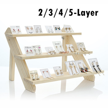 2/3/4/5-Layer Wood Earring Stand Display Jewelry Display Rack Tiered Jewelry image